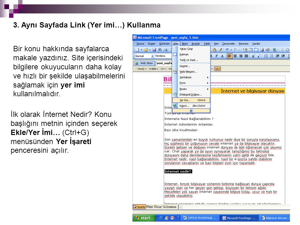 3. Aynı Sayfada Link (Yer imi…) Kullanma