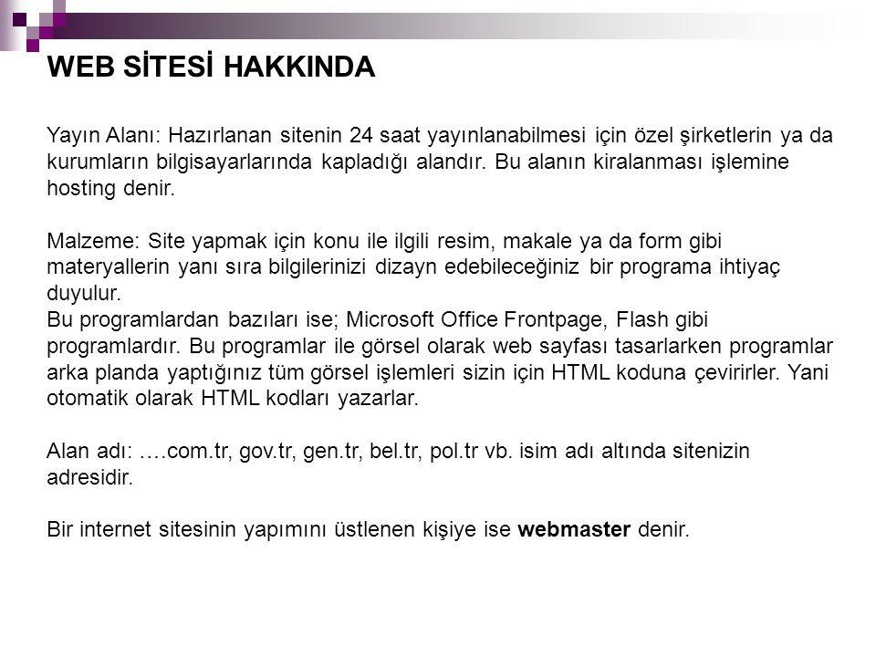 WEB SİTESİ HAKKINDA