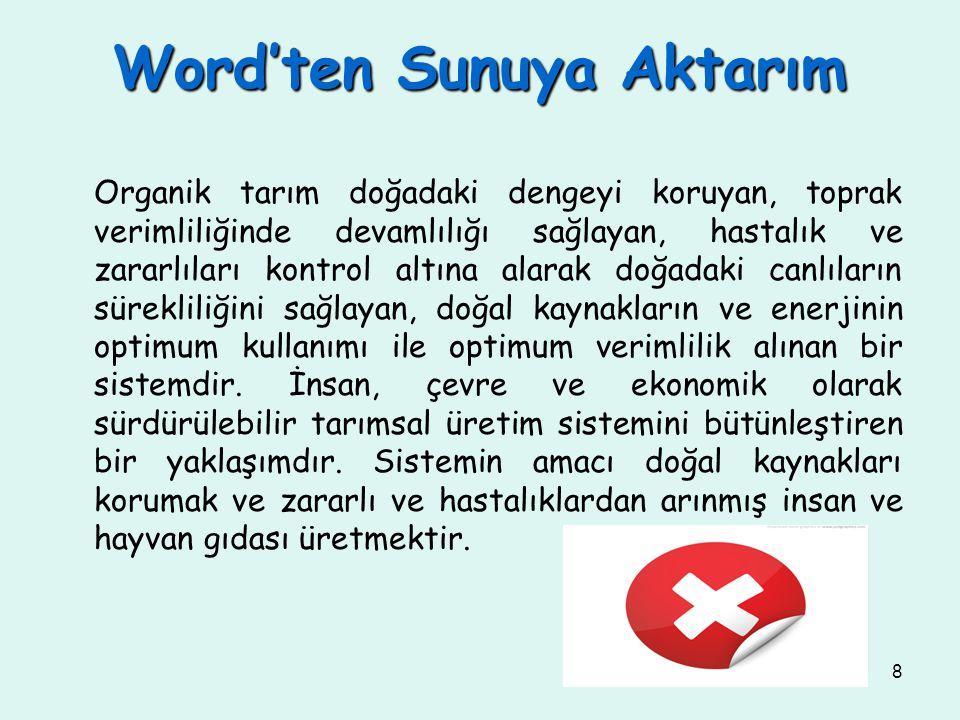 Word'ten Sunuya Aktarım