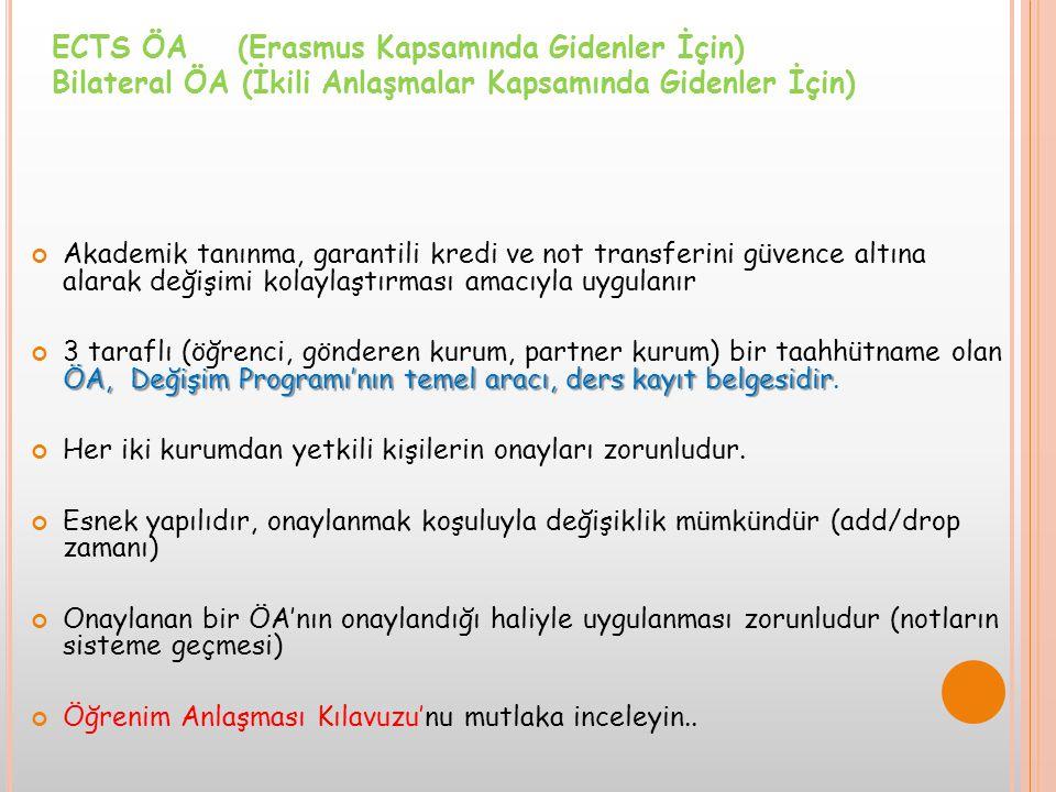 ECTS ÖA (Erasmus Kapsamında Gidenler İçin)