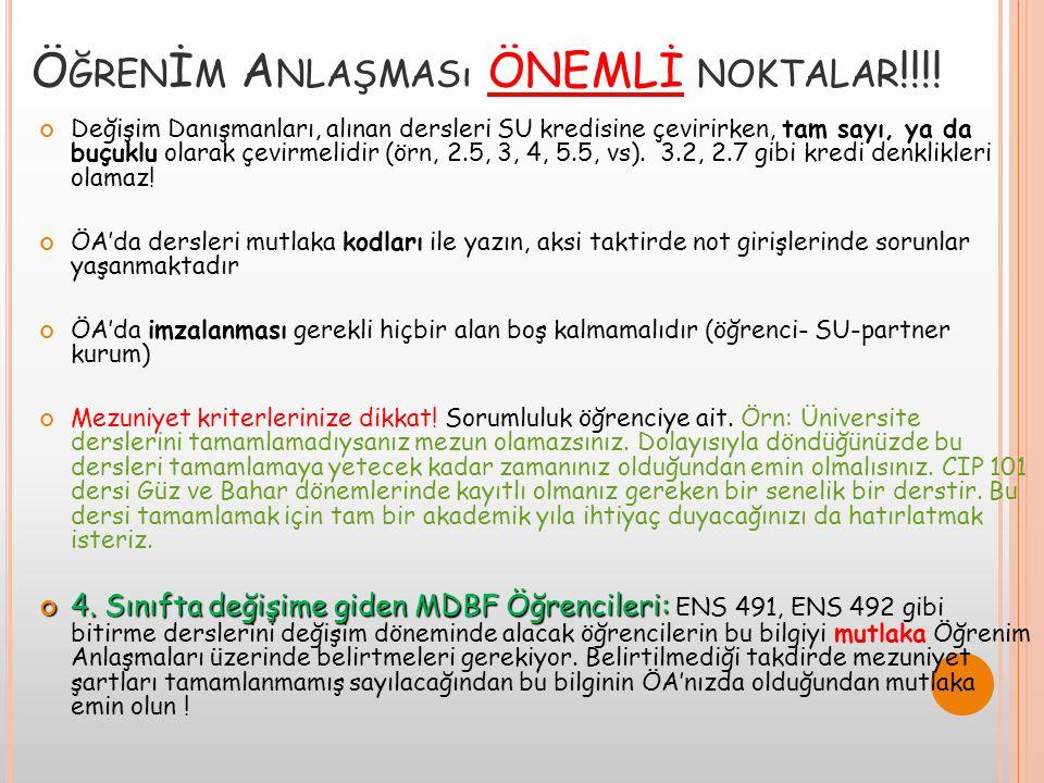 Öğrenİm Anlaşması ÖNEMLİ noktalar!!!!