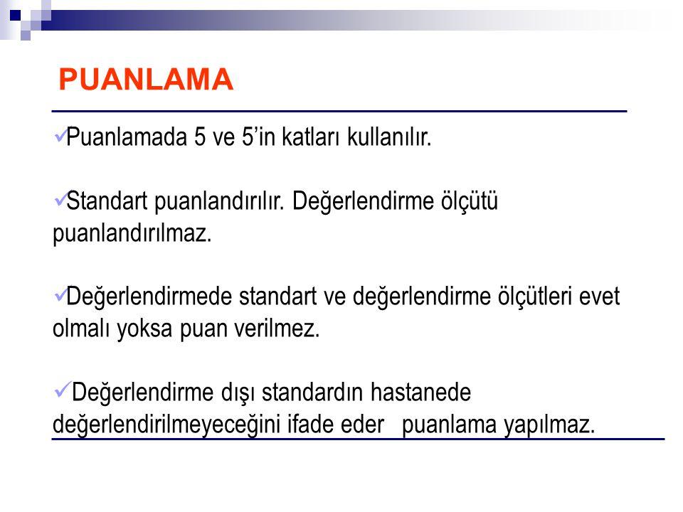 PUANLAMA Puanlamada 5 ve 5'in katları kullanılır.