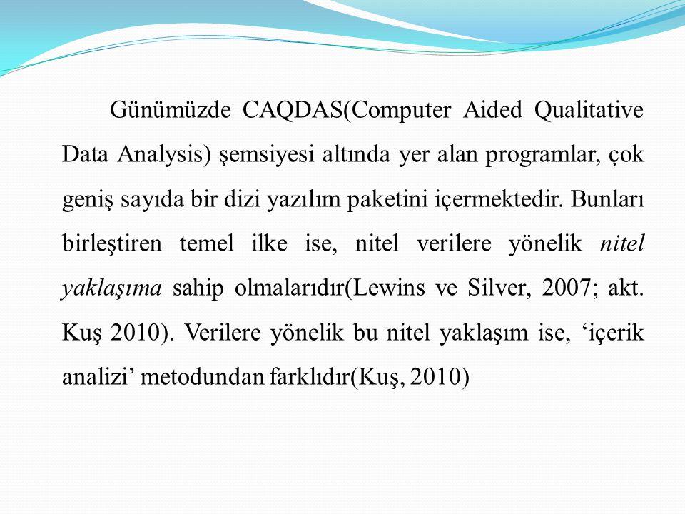Günümüzde CAQDAS(Computer Aided Qualitative Data Analysis) şemsiyesi altında yer alan programlar, çok geniş sayıda bir dizi yazılım paketini içermektedir.