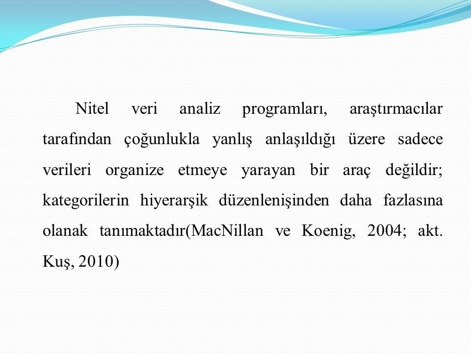 Nitel veri analiz programları, araştırmacılar tarafından çoğunlukla yanlış anlaşıldığı üzere sadece verileri organize etmeye yarayan bir araç değildir; kategorilerin hiyerarşik düzenlenişinden daha fazlasına olanak tanımaktadır(MacNillan ve Koenig, 2004; akt.