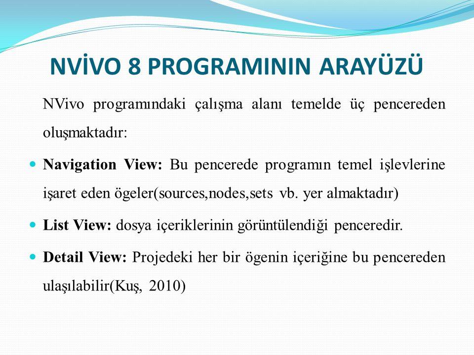 NVİVO 8 PROGRAMININ ARAYÜZÜ
