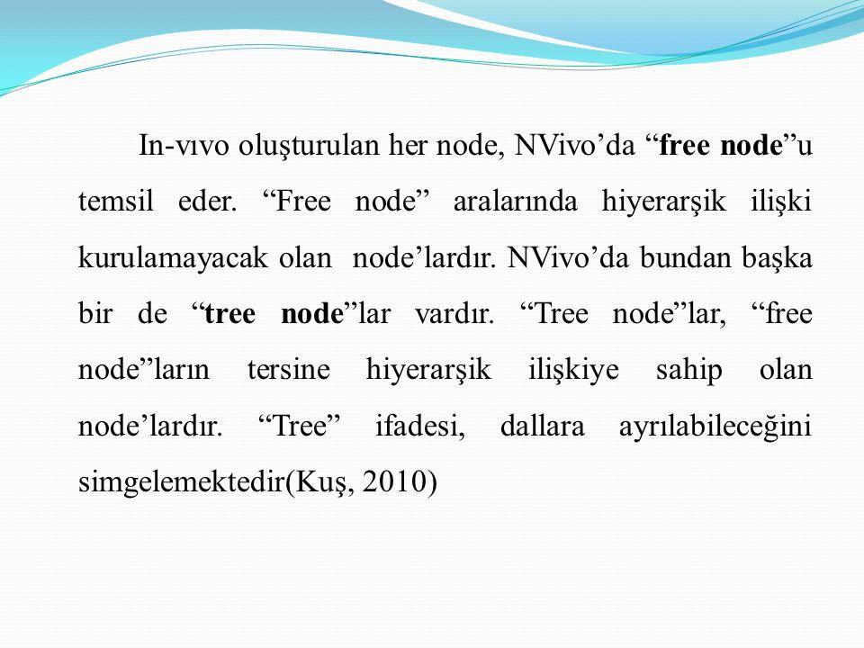 In-vıvo oluşturulan her node, NVivo'da free node u temsil eder