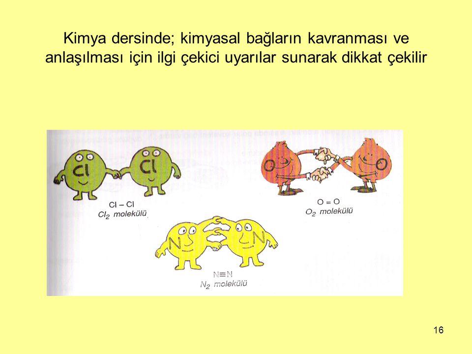 Kimya dersinde; kimyasal bağların kavranması ve anlaşılması için ilgi çekici uyarılar sunarak dikkat çekilir