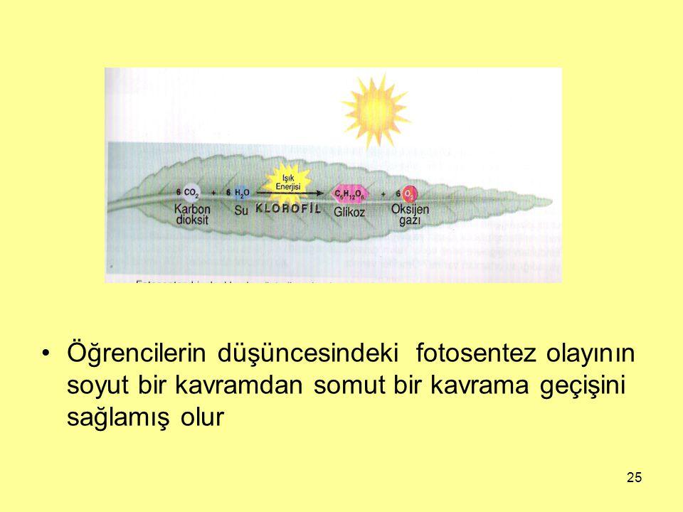 Öğrencilerin düşüncesindeki fotosentez olayının soyut bir kavramdan somut bir kavrama geçişini sağlamış olur