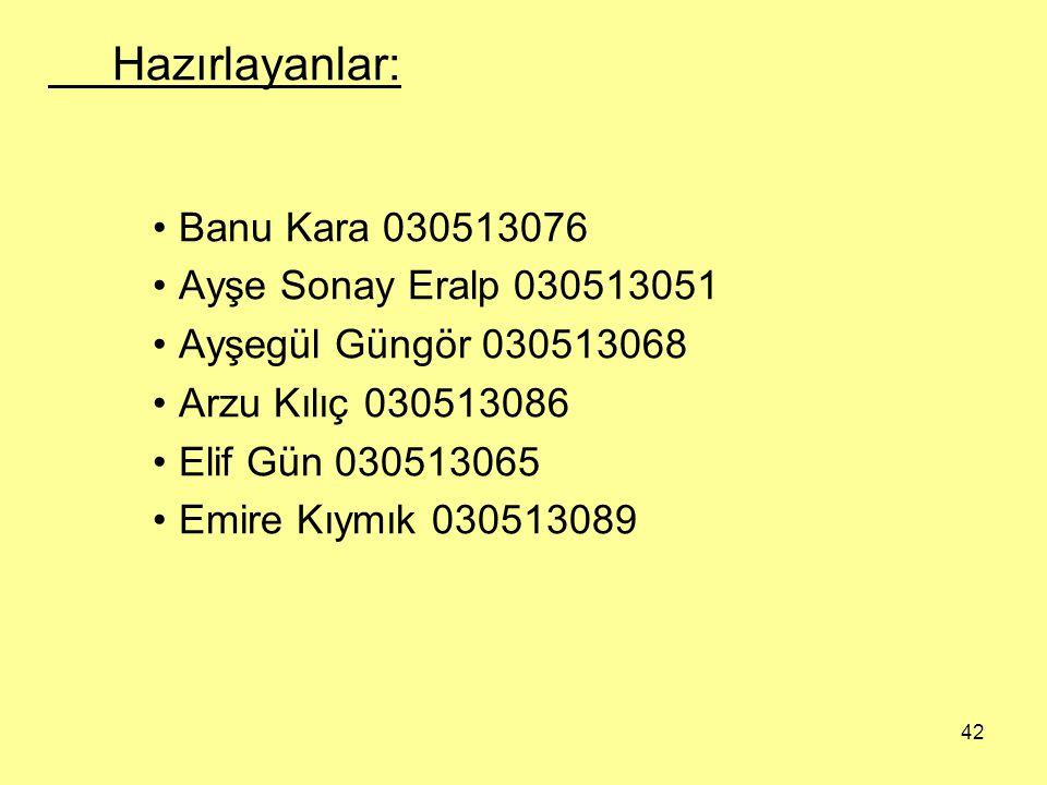Hazırlayanlar: Banu Kara 030513076 Ayşe Sonay Eralp 030513051