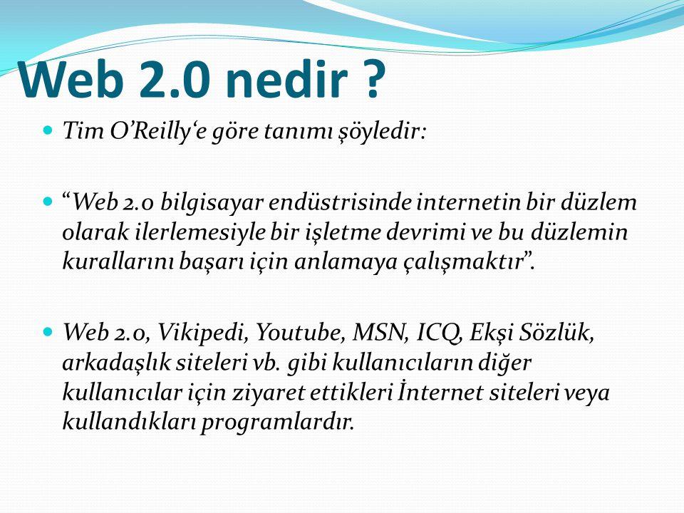 Web 2.0 nedir Tim O'Reilly'e göre tanımı şöyledir: