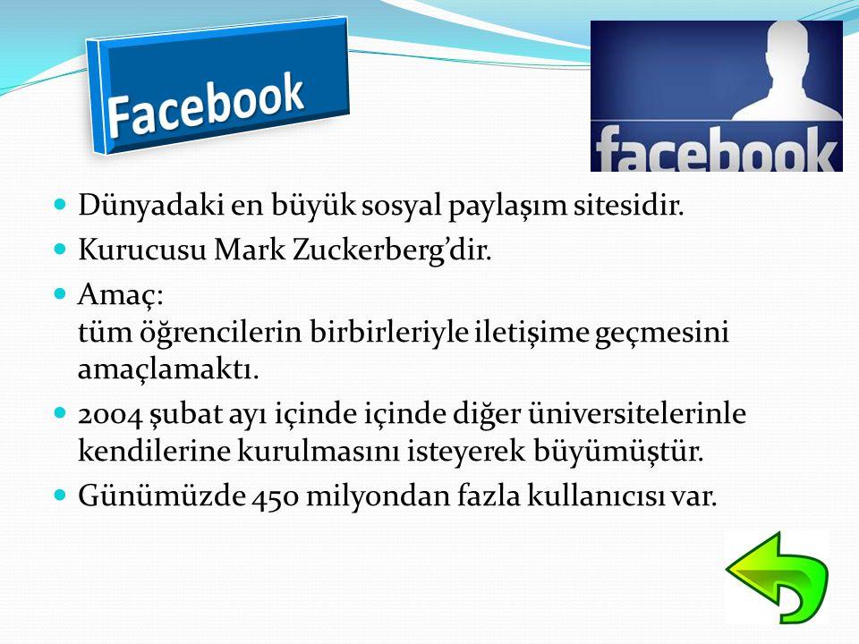 Facebook Dünyadaki en büyük sosyal paylaşım sitesidir.