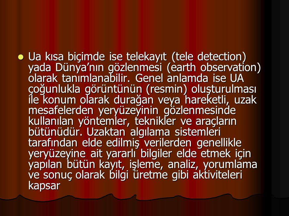 Ua kısa biçimde ise telekayıt (tele detection) yada Dünya'nın gözlenmesi (earth observation) olarak tanımlanabilir.