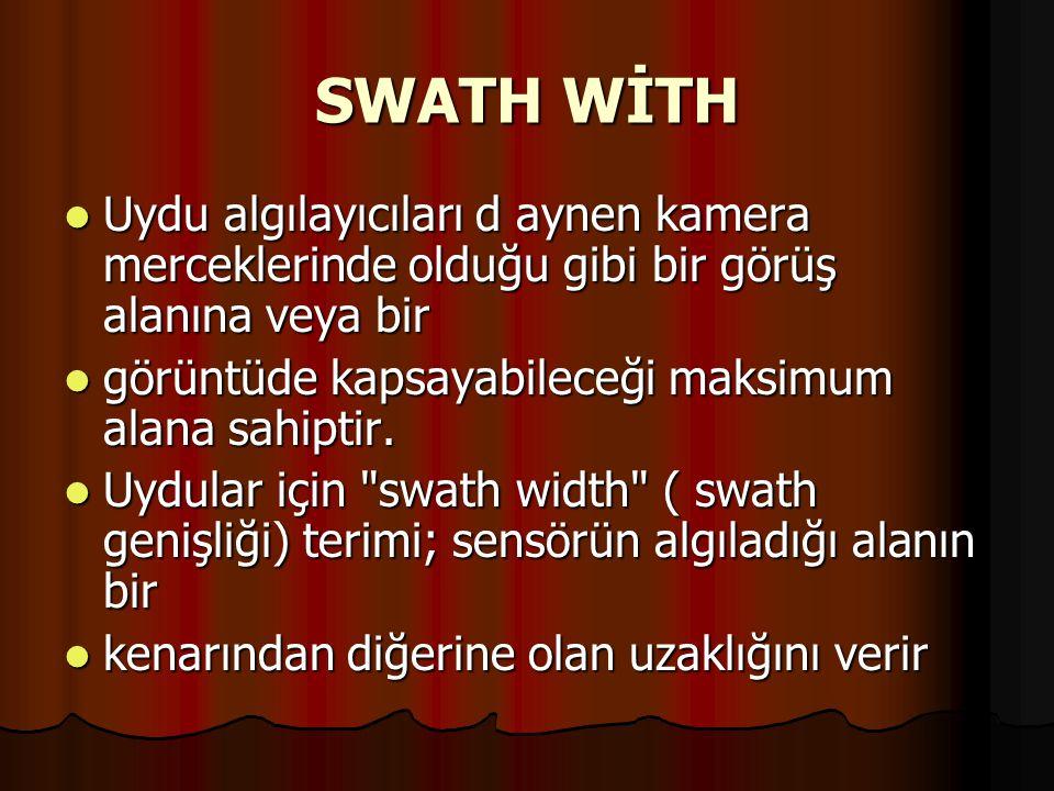 SWATH WİTH Uydu algılayıcıları d aynen kamera merceklerinde olduğu gibi bir görüş alanına veya bir.