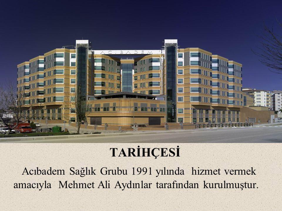 TARİHÇESİ Acıbadem Sağlık Grubu 1991 yılında hizmet vermek amacıyla Mehmet Ali Aydınlar tarafından kurulmuştur.