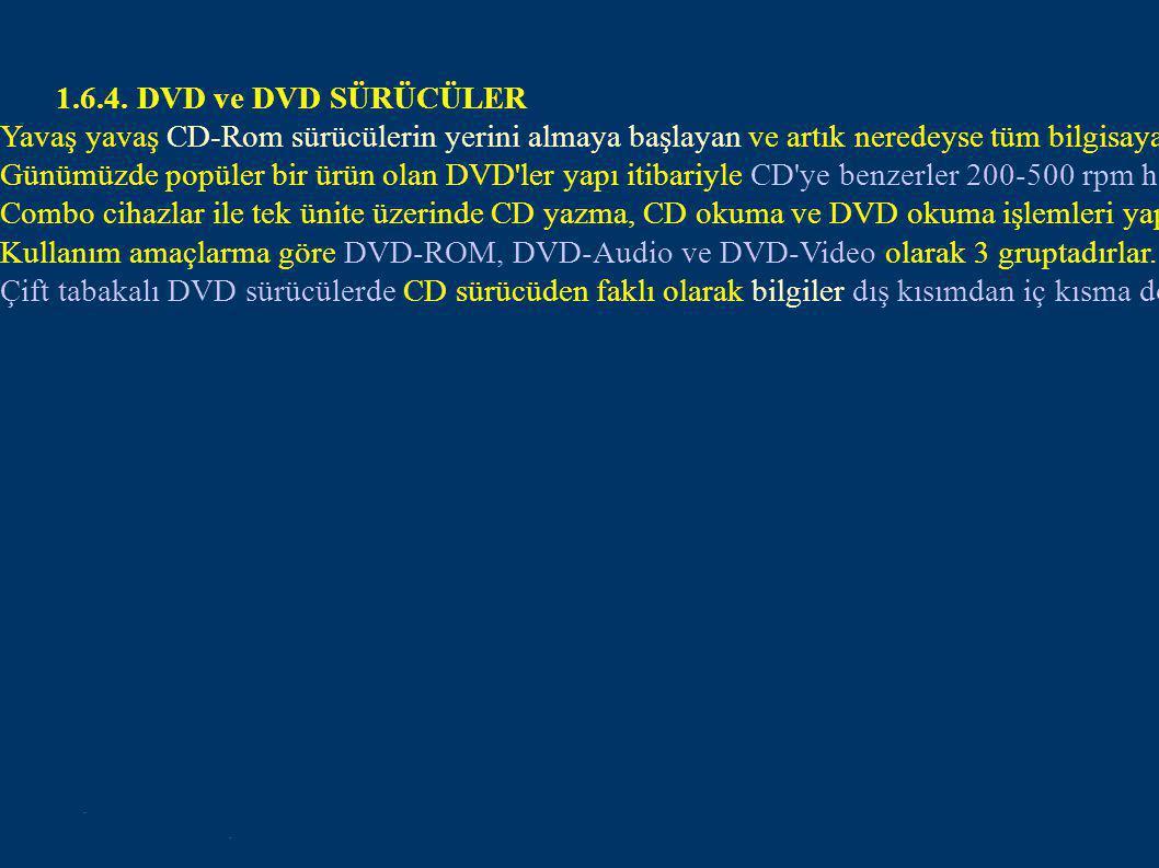 1.6.4. DVD ve DVD SÜRÜCÜLER
