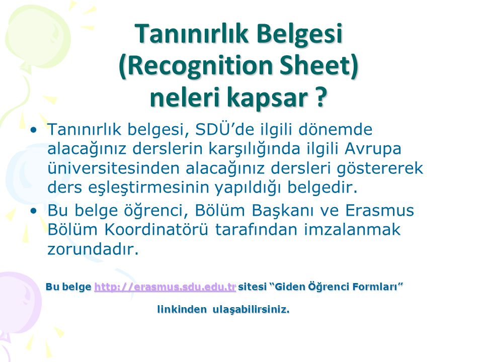 Tanınırlık Belgesi (Recognition Sheet) neleri kapsar