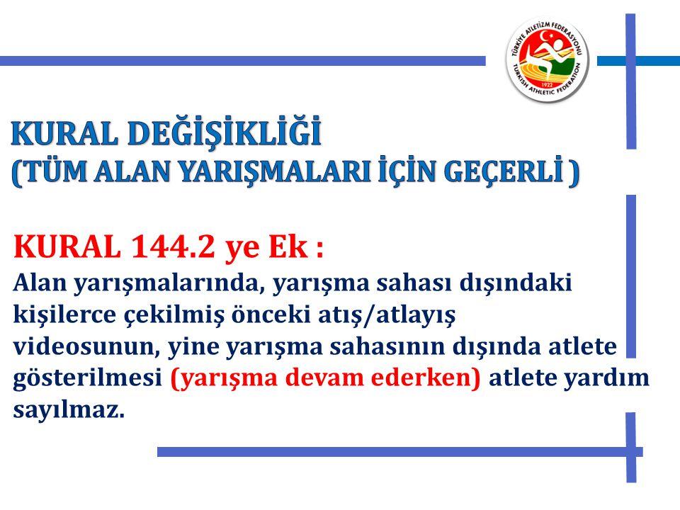 KURAL DEĞİŞİKLİĞİ KURAL 144.2 ye Ek :