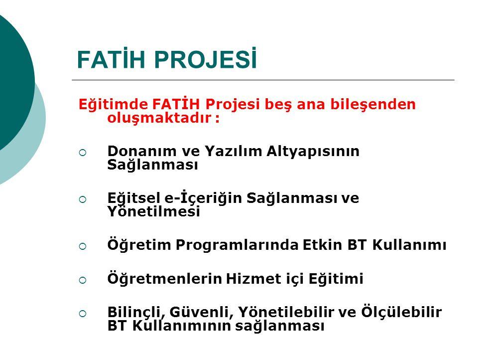 FATİH PROJESİ Eğitimde FATİH Projesi beş ana bileşenden oluşmaktadır :