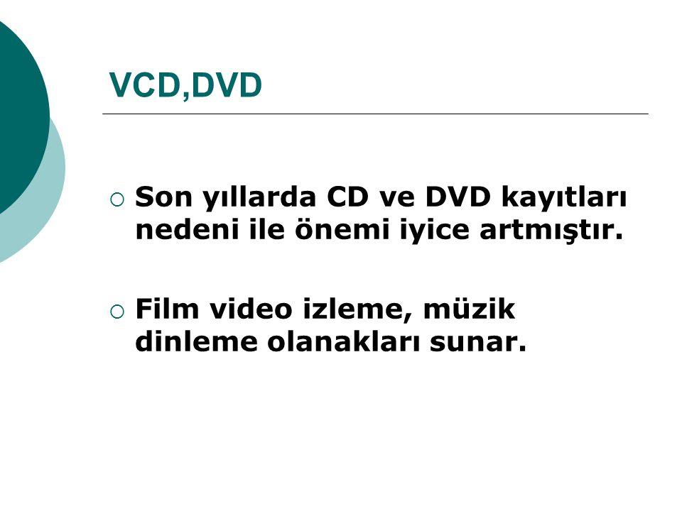 VCD,DVD Son yıllarda CD ve DVD kayıtları nedeni ile önemi iyice artmıştır.