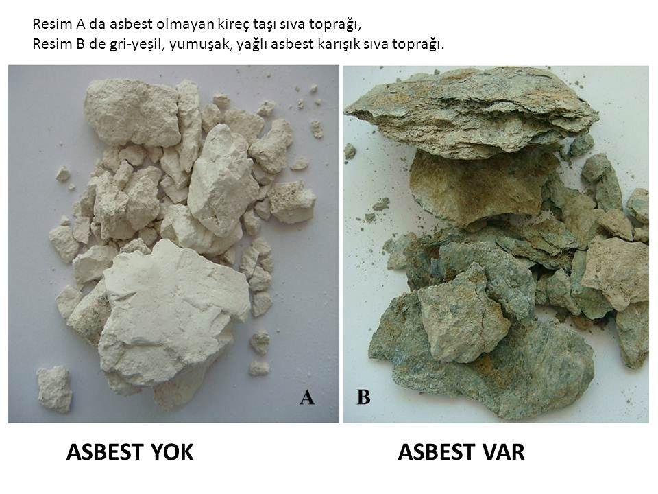 Resim A da asbest olmayan kireç taşı sıva toprağı,