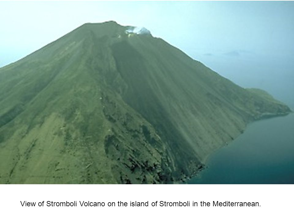 View of Stromboli Volcano on the island of Stromboli in the Mediterranean.