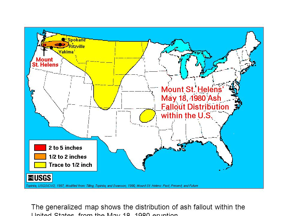 The generalized map shows the distribution of ash fallout within the United States, from the May 18, 1980 eruption