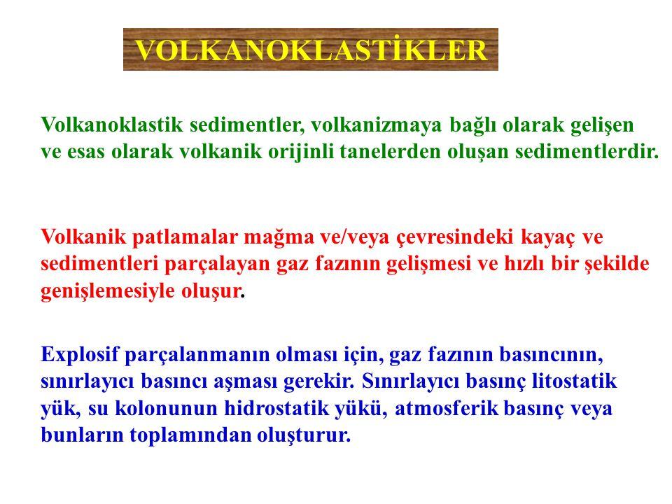 VOLKANOKLASTİKLER Volkanoklastik sedimentler, volkanizmaya bağlı olarak gelişen ve esas olarak volkanik orijinli tanelerden oluşan sedimentlerdir.