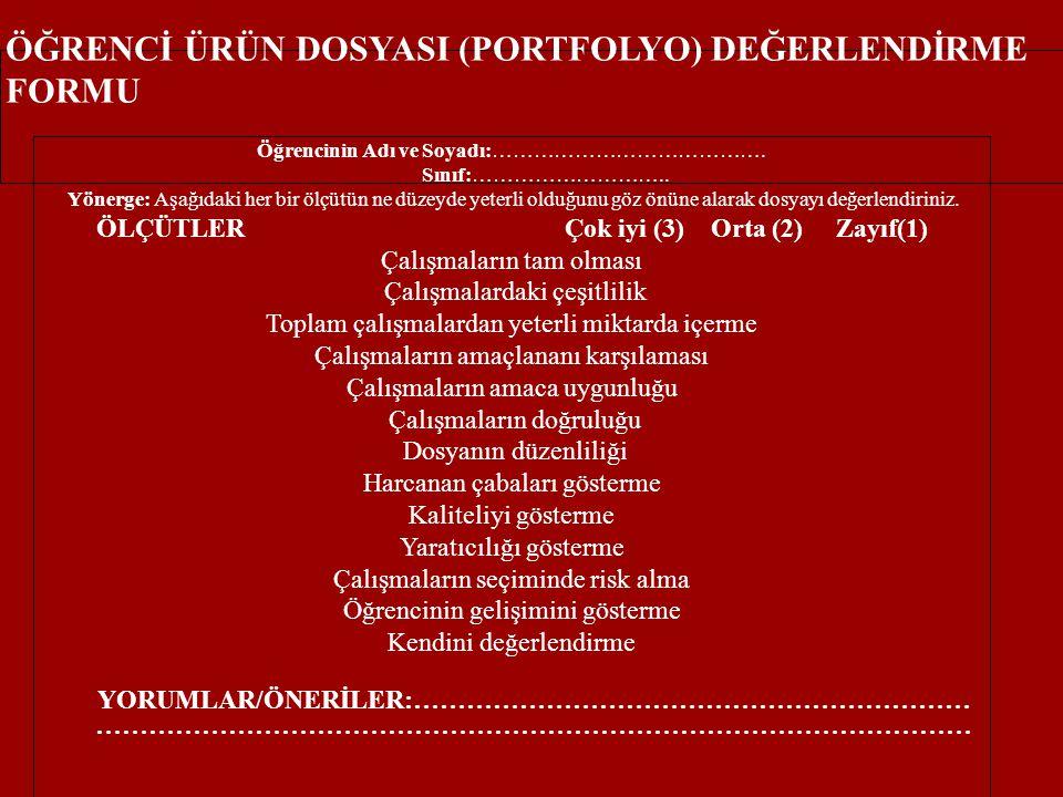 ÖĞRENCİ ÜRÜN DOSYASI (PORTFOLYO) DEĞERLENDİRME FORMU