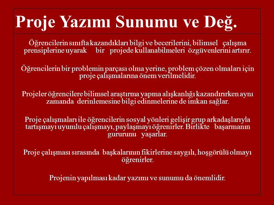 Proje Yazımı Sunumu ve Değ.