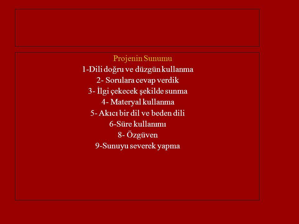 Projenin Sunumu 1-Dili doğru ve düzgün kullanma 2- Sorulara cevap verdik 3- İlgi çekecek şekilde sunma 4- Materyal kullanma 5- Akıcı bir dil ve beden dili 6-Süre kullanımı 8- Özgüven 9-Sunuyu severek yapma