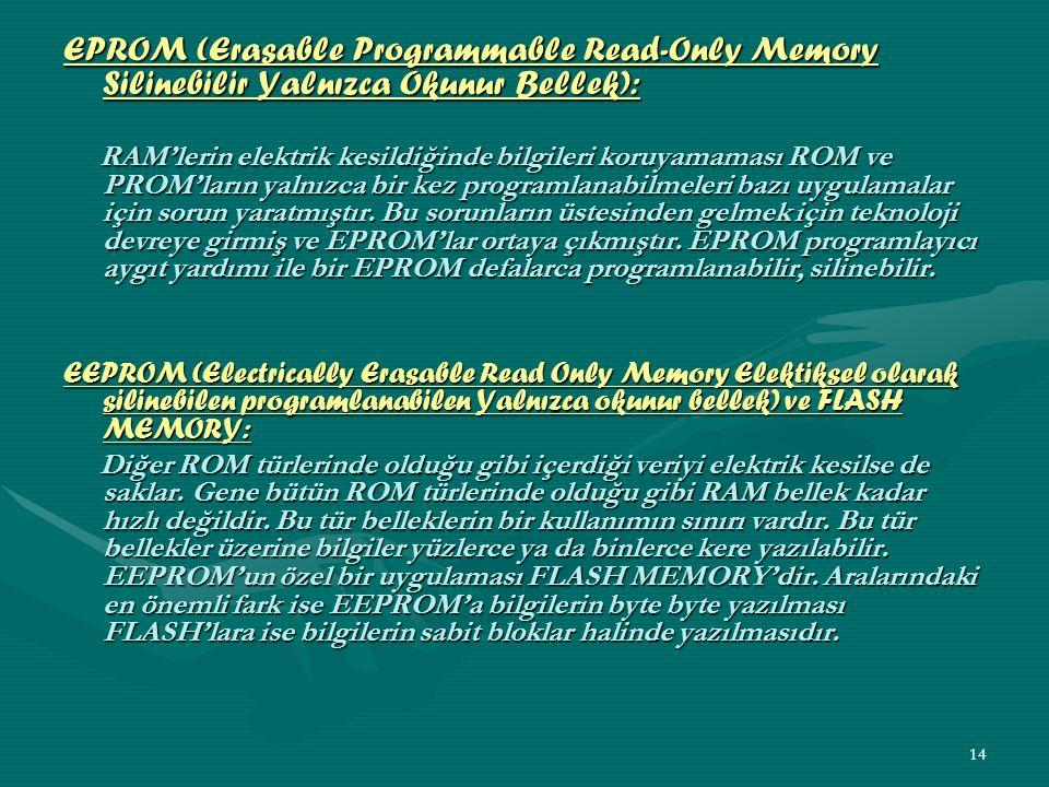 EPROM (Erasable Programmable Read-Only Memory Silinebilir Yalnızca Okunur Bellek):