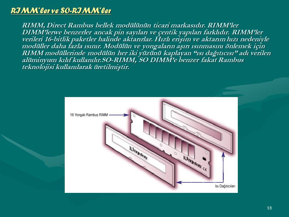RIMM'ler ve SO-RIMM'ler RIMM, Direct Rambus bellek modülünün ticari markasıdır.