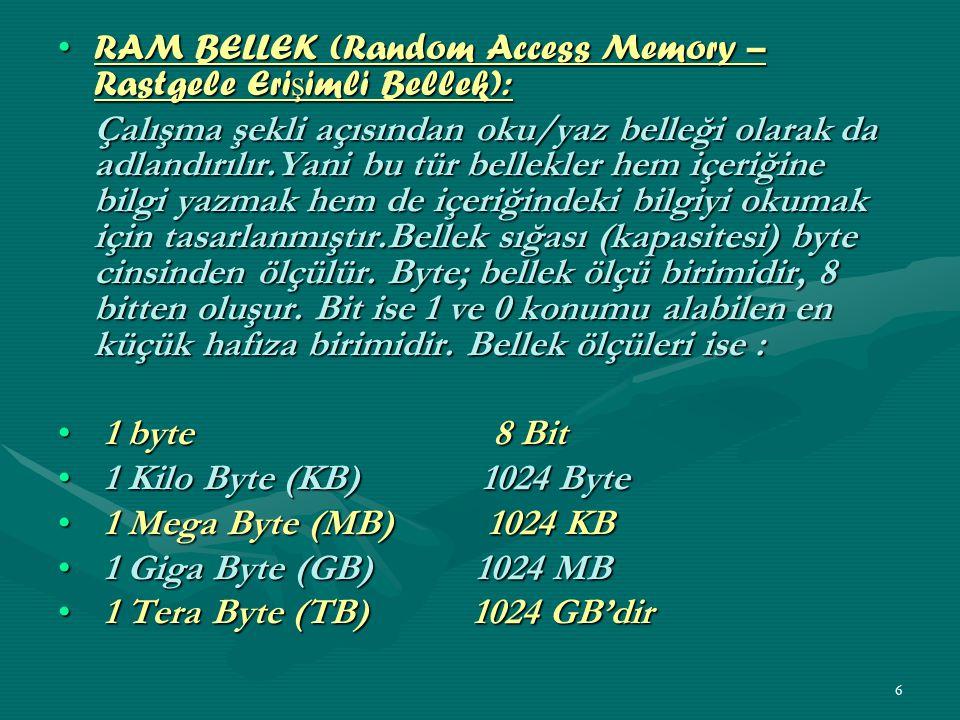 RAM BELLEK (Random Access Memory – Rastgele Erişimli Bellek):
