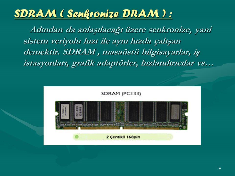 SDRAM ( Senkronize DRAM ) :