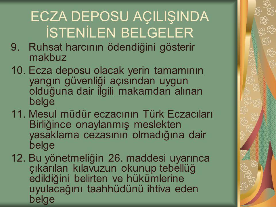 ECZA DEPOSU AÇILIŞINDA İSTENİLEN BELGELER