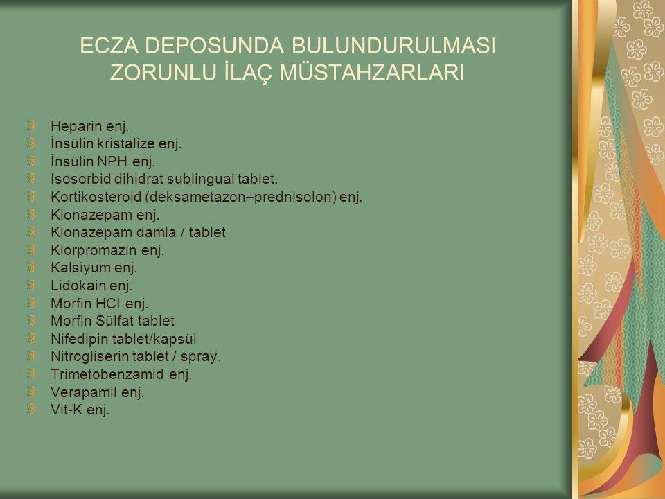 ECZA DEPOSUNDA BULUNDURULMASI ZORUNLU İLAÇ MÜSTAHZARLARI