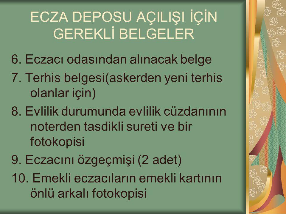 ECZA DEPOSU AÇILIŞI İÇİN GEREKLİ BELGELER