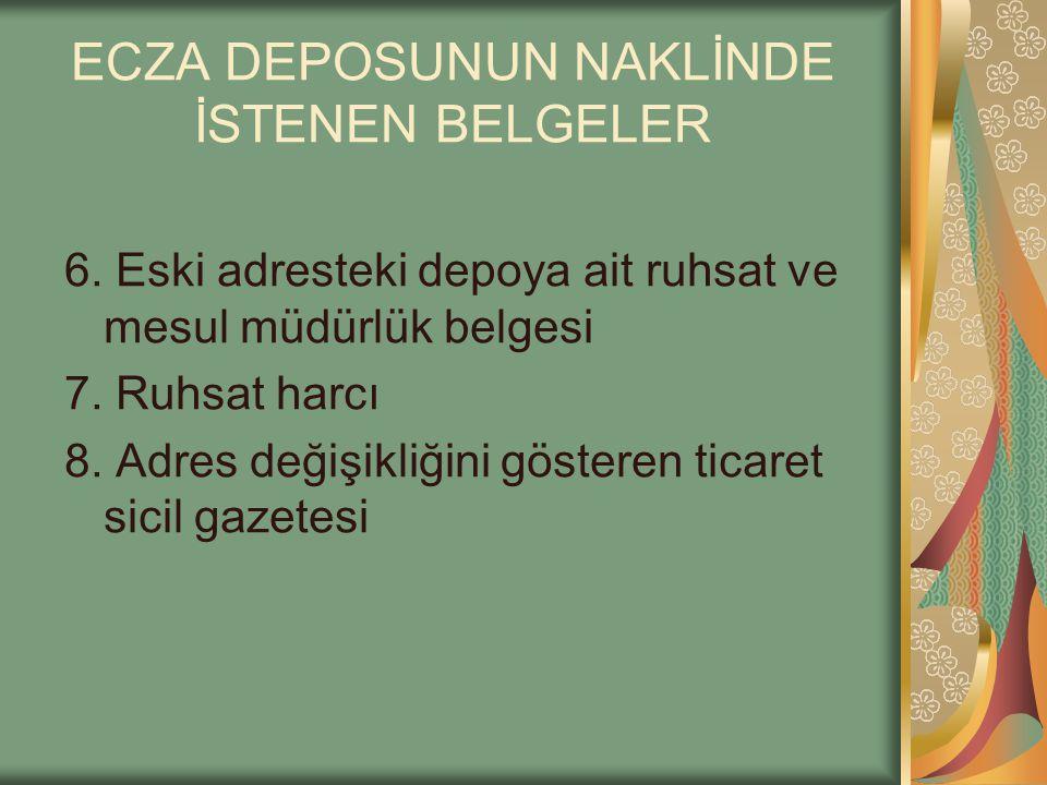 ECZA DEPOSUNUN NAKLİNDE İSTENEN BELGELER