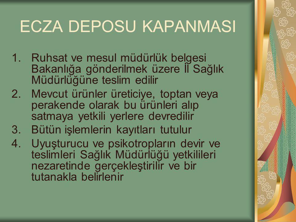 ECZA DEPOSU KAPANMASI Ruhsat ve mesul müdürlük belgesi Bakanlığa gönderilmek üzere İl Sağlık Müdürlüğüne teslim edilir.