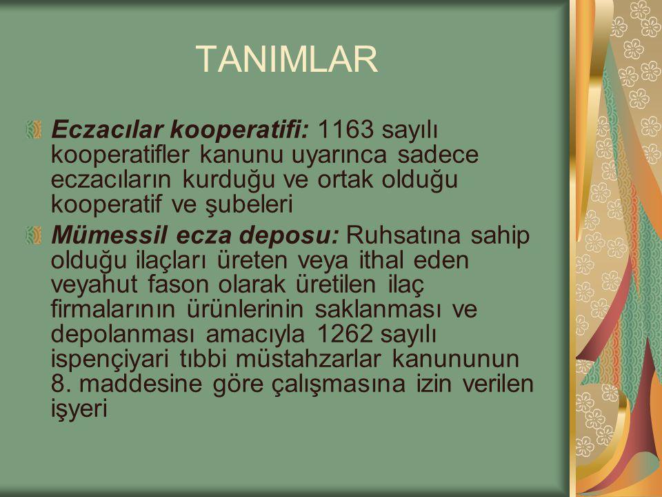 TANIMLAR Eczacılar kooperatifi: 1163 sayılı kooperatifler kanunu uyarınca sadece eczacıların kurduğu ve ortak olduğu kooperatif ve şubeleri.