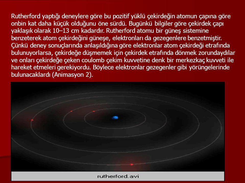 Rutherford yaptığı deneylere göre bu pozitif yüklü çekirdeğin atomun çapına göre onbin kat daha küçük olduğunu öne sürdü.