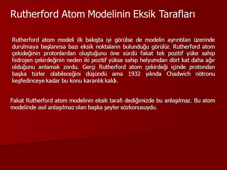 Rutherford Atom Modelinin Eksik Tarafları