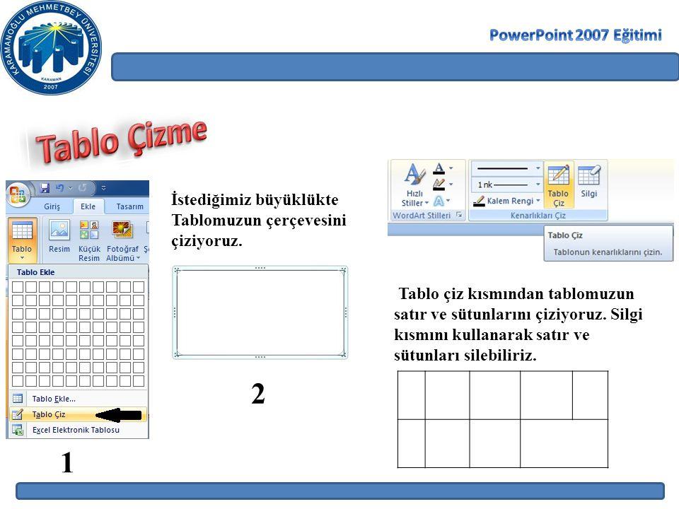 Tablo Çizme 2 1 PowerPoint 2007 Eğitimi İstediğimiz büyüklükte