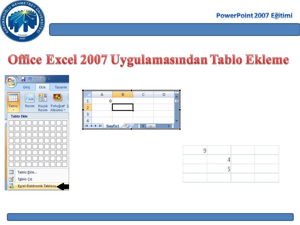 Office Excel 2007 Uygulamasından Tablo Ekleme