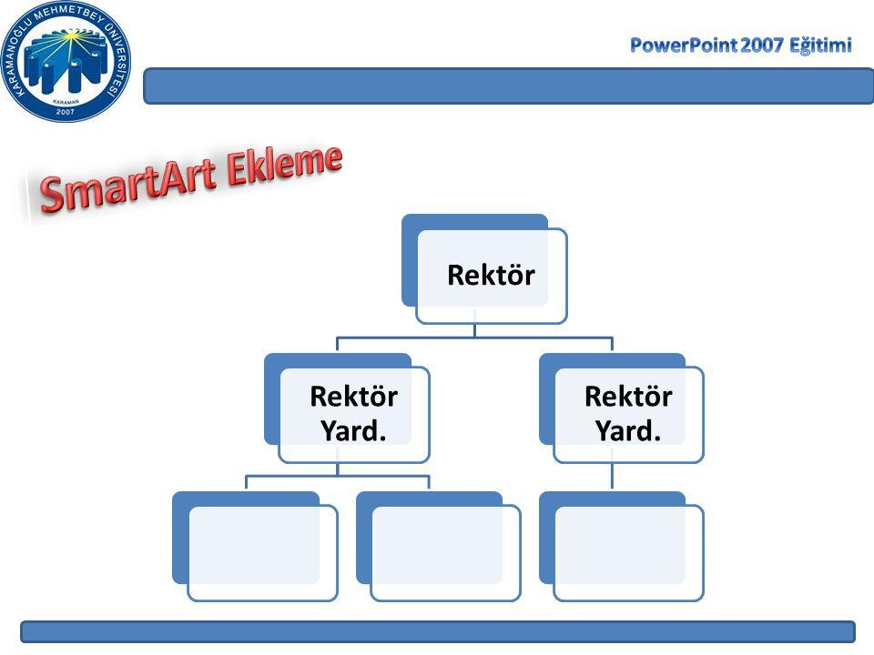 PowerPoint 2007 Eğitimi SmartArt Ekleme Rektör Rektör Yard.