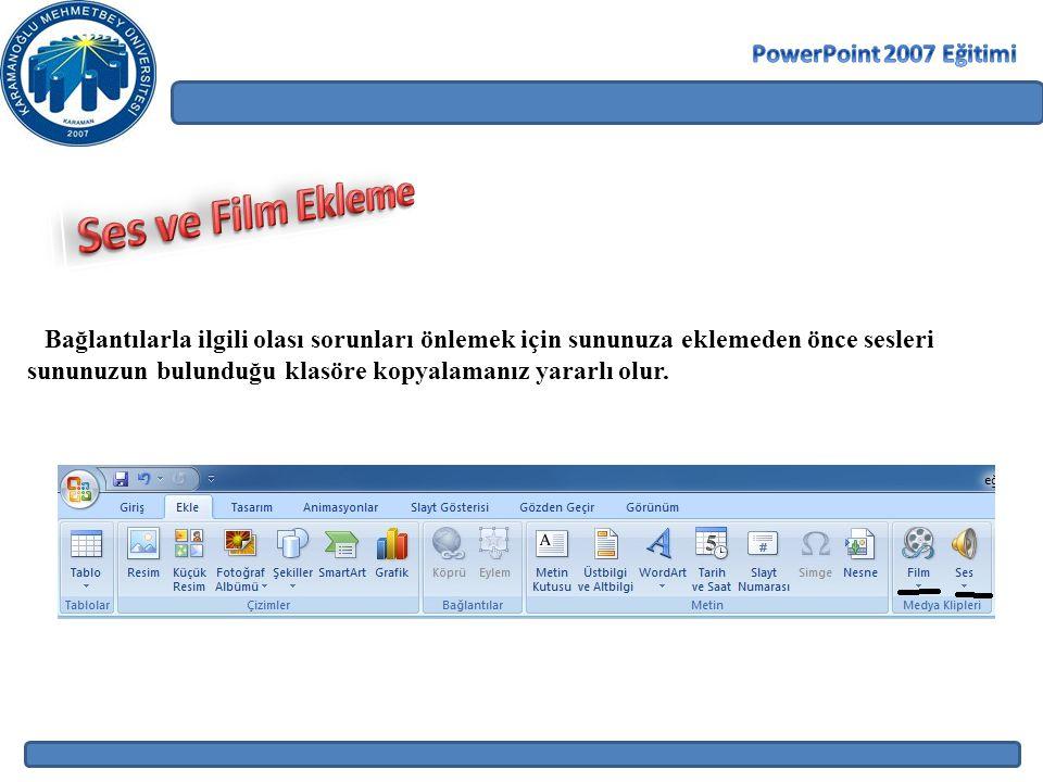 Ses ve Film Ekleme PowerPoint 2007 Eğitimi