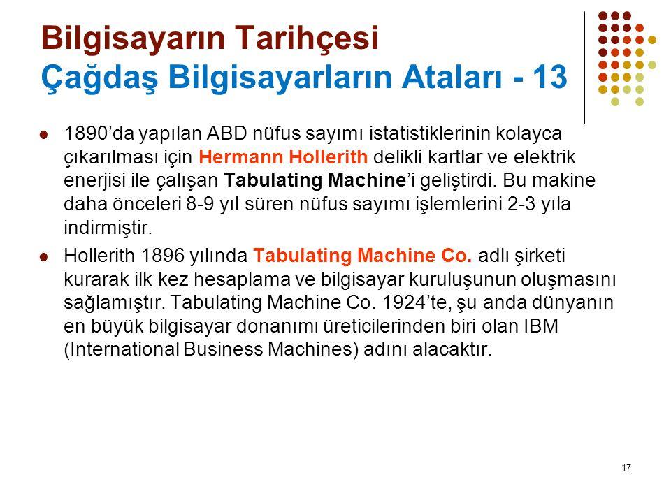 Bilgisayarın Tarihçesi Çağdaş Bilgisayarların Ataları - 13