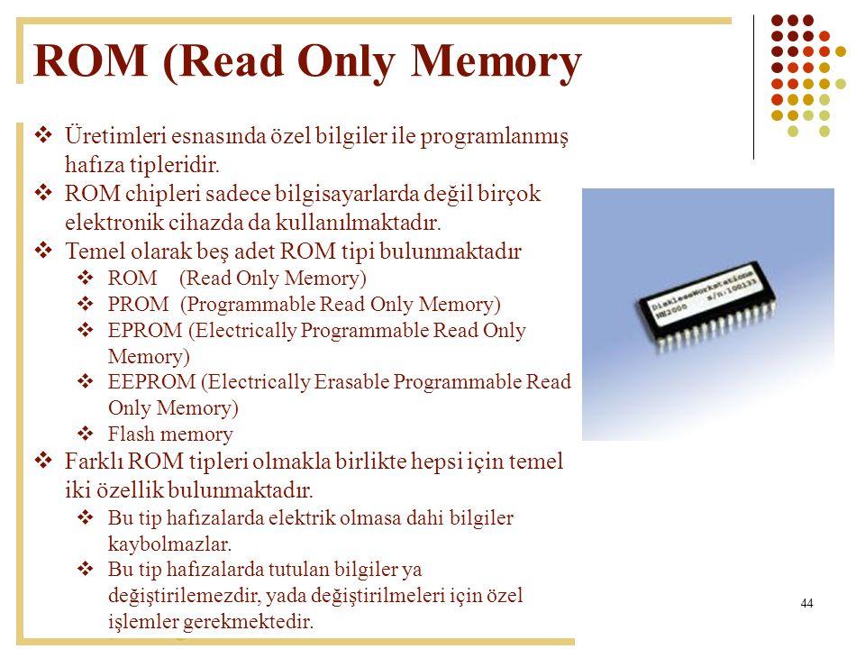 ROM (Read Only Memory Üretimleri esnasında özel bilgiler ile programlanmış hafıza tipleridir.