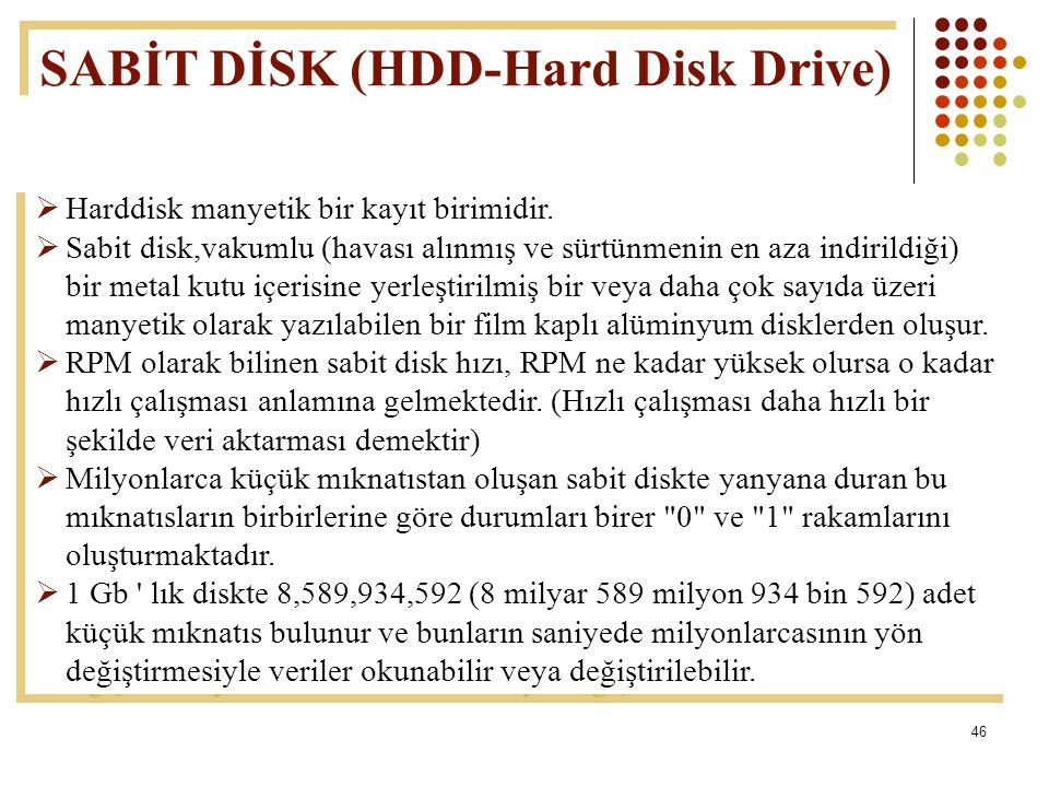 SABİT DİSK (HDD-Hard Disk Drive)