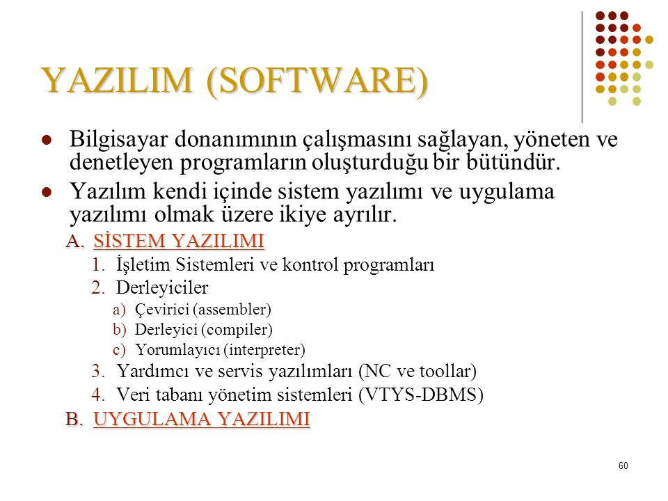 YAZILIM (SOFTWARE) Bilgisayar donanımının çalışmasını sağlayan, yöneten ve denetleyen programların oluşturduğu bir bütündür.